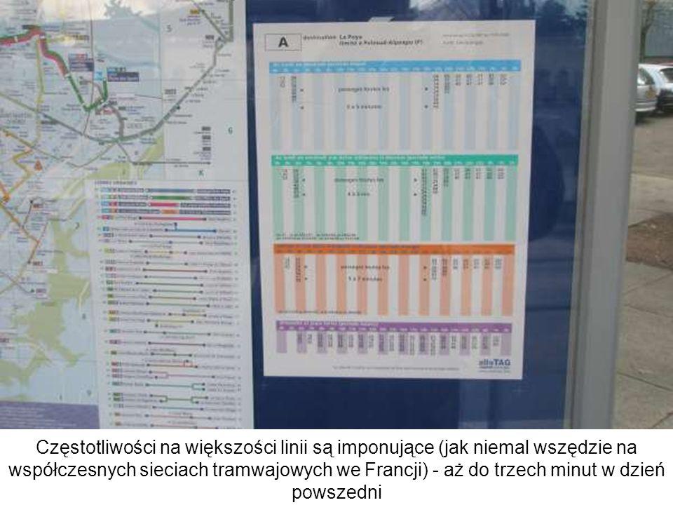 Częstotliwości na większości linii są imponujące (jak niemal wszędzie na współczesnych sieciach tramwajowych we Francji) - aż do trzech minut w dzień
