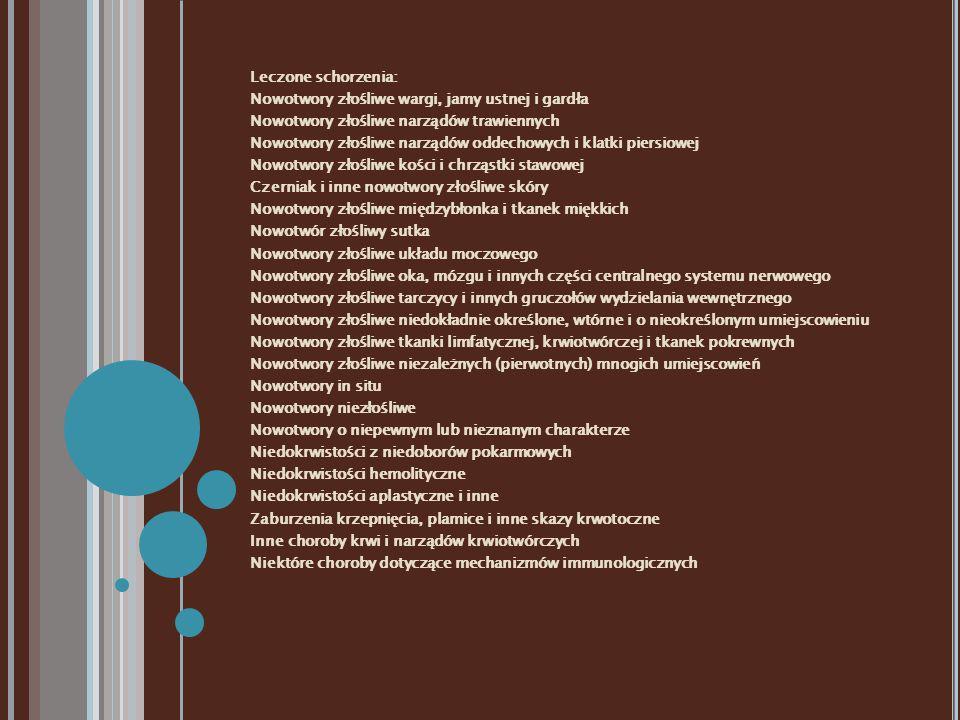 Leczone schorzenia: Nowotwory złośliwe wargi, jamy ustnej i gardła Nowotwory złośliwe narządów trawiennych Nowotwory złośliwe narządów oddechowych i klatki piersiowej Nowotwory złośliwe kości i chrząstki stawowej Czerniak i inne nowotwory złośliwe skóry Nowotwory złośliwe międzybłonka i tkanek miękkich Nowotwór złośliwy sutka Nowotwory złośliwe układu moczowego Nowotwory złośliwe oka, mózgu i innych części centralnego systemu nerwowego Nowotwory złośliwe tarczycy i innych gruczołów wydzielania wewnętrznego Nowotwory złośliwe niedokładnie określone, wtórne i o nieokreślonym umiejscowieniu Nowotwory złośliwe tkanki limfatycznej, krwiotwórczej i tkanek pokrewnych Nowotwory złośliwe niezależnych (pierwotnych) mnogich umiejscowień Nowotwory in situ Nowotwory niezłośliwe Nowotwory o niepewnym lub nieznanym charakterze Niedokrwistości z niedoborów pokarmowych Niedokrwistości hemolityczne Niedokrwistości aplastyczne i inne Zaburzenia krzepnięcia, plamice i inne skazy krwotoczne Inne choroby krwi i narządów krwiotwórczych Niektóre choroby dotyczące mechanizmów immunologicznych