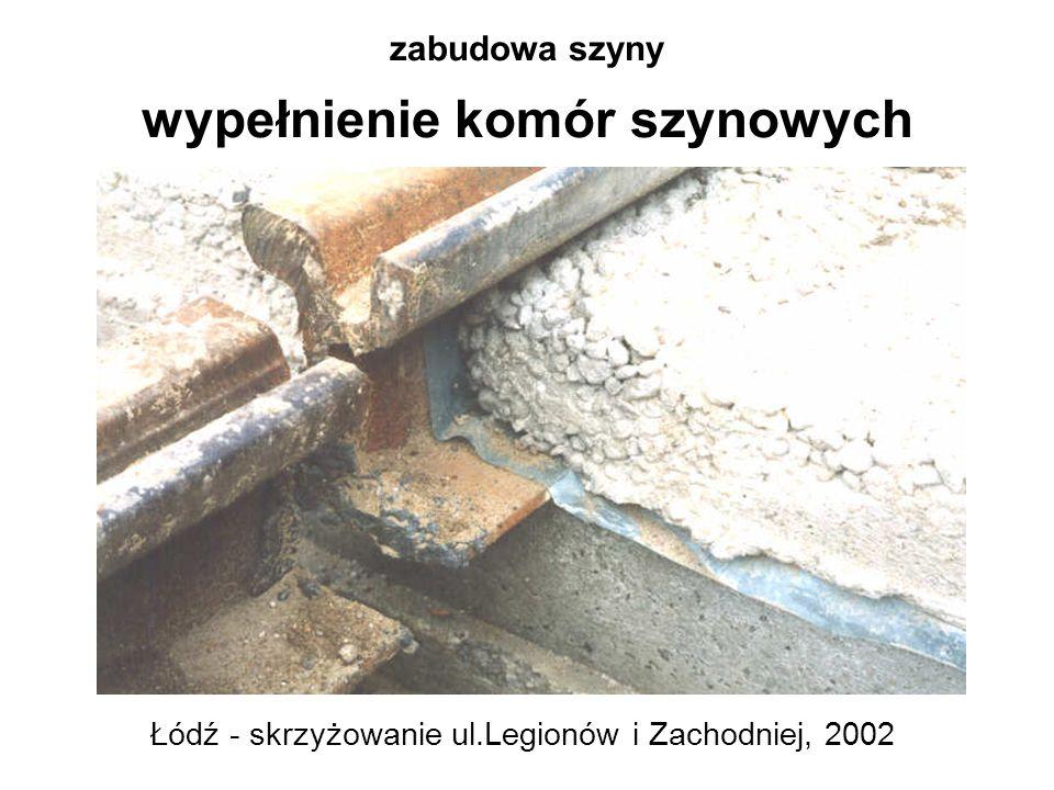 zabudowa szyny wypełnienie komór szynowych Łódź - skrzyżowanie ul.Legionów i Zachodniej, 2002