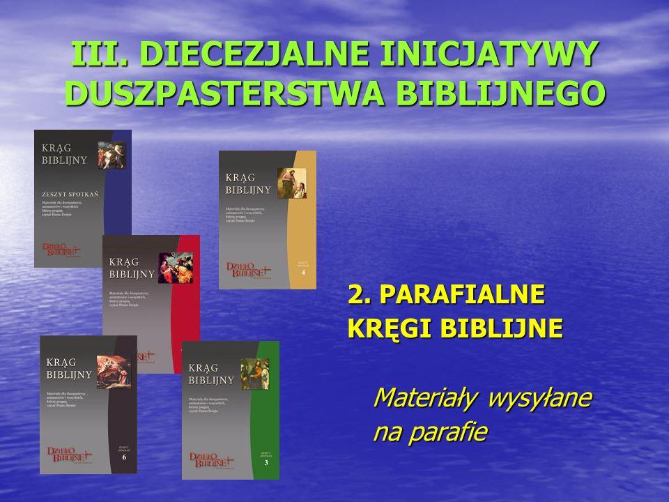 III. DIECEZJALNE INICJATYWY DUSZPASTERSTWA BIBLIJNEGO 2.