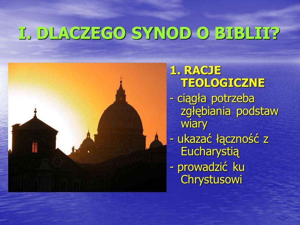 I. DLACZEGO SYNOD O BIBLII. 1.