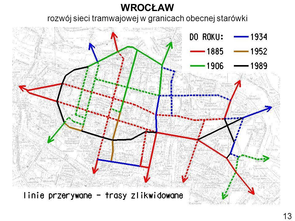 WROCŁAW rozwój sieci tramwajowej w granicach obecnej starówki 13