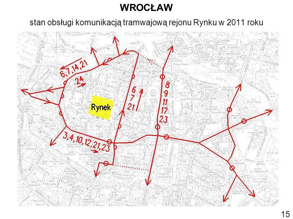 WROCŁAW stan obsługi komunikacją tramwajową rejonu Rynku w 2011 roku 15
