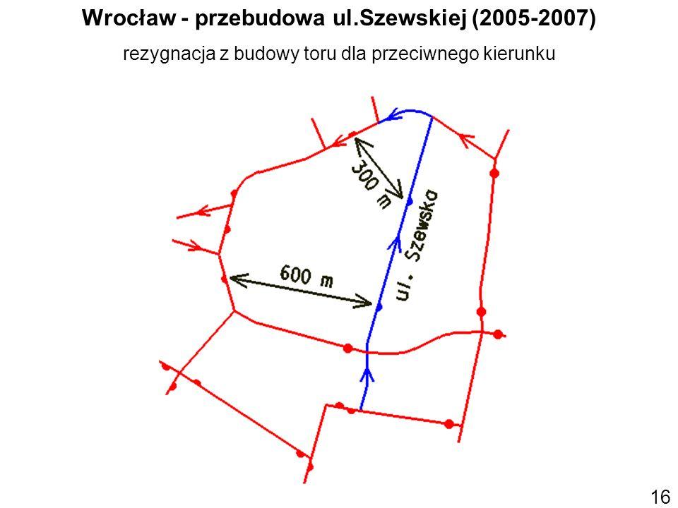Wrocław - przebudowa ul.Szewskiej (2005-2007) rezygnacja z budowy toru dla przeciwnego kierunku 16