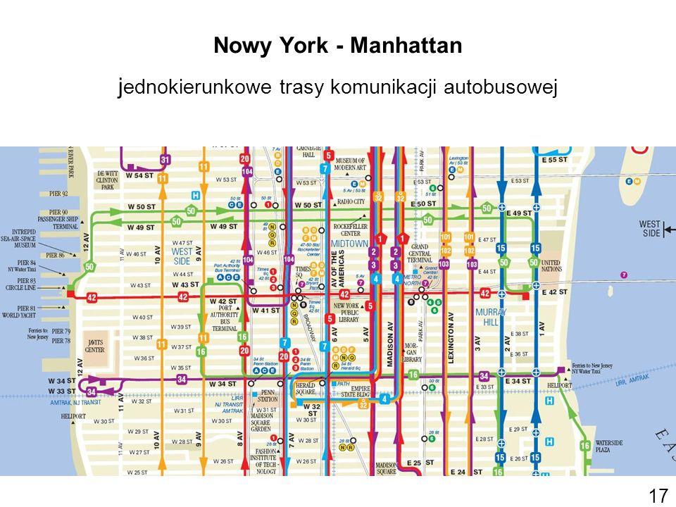 Nowy York - Manhattan j ednokierunkowe trasy komunikacji autobusowej 17