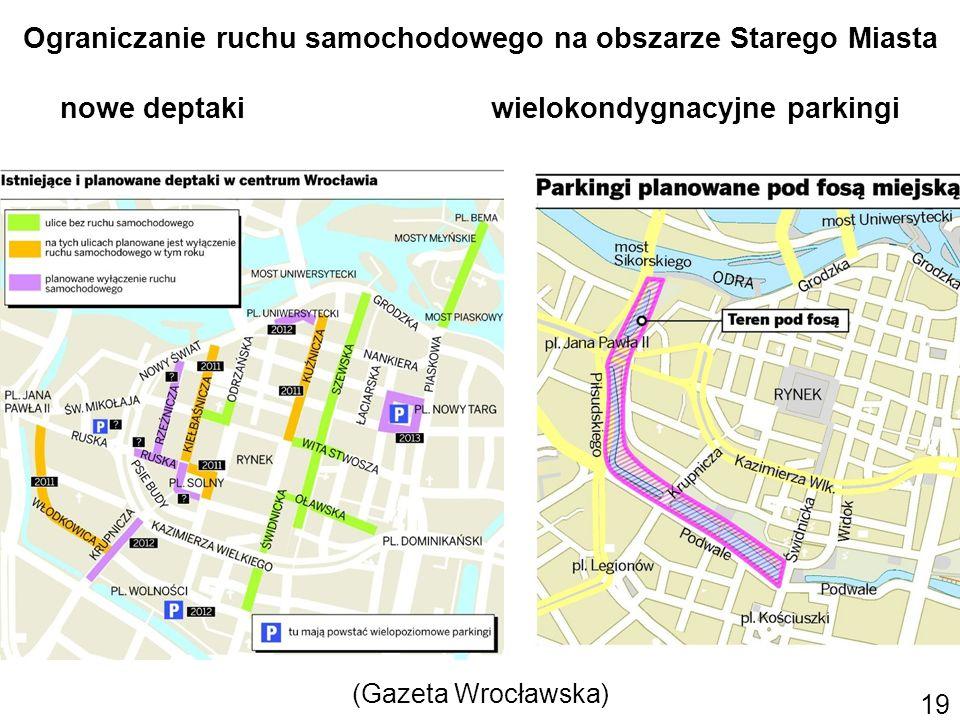 19 Ograniczanie ruchu samochodowego na obszarze Starego Miasta nowe deptaki wielokondygnacyjne parkingi (Gazeta Wrocławska)