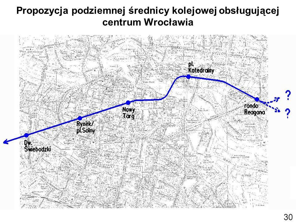 Propozycja podziemnej średnicy kolejowej obsługującej centrum Wrocławia 30