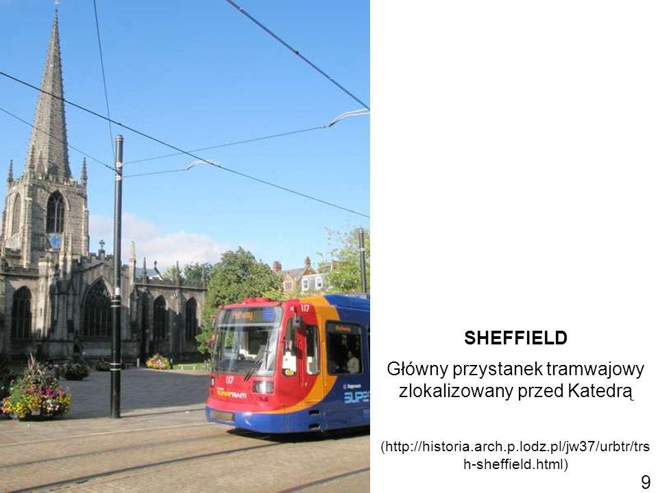 SHEFFIELD Główny przystanek tramwajowy zlokalizowany przed Katedrą (http://historia.arch.p.lodz.pl/jw37/urbtr/trs h-sheffield.html) 9