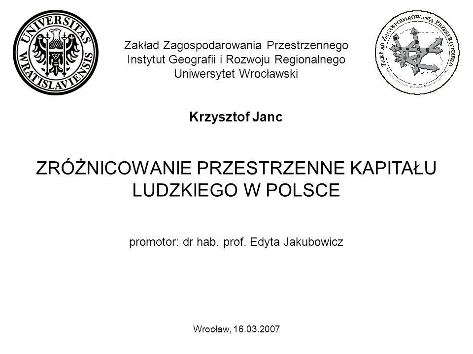 Główne cele poznawcze pracy to: przedstawienie zróżnicowania przestrzennego kapitału ludzkiego w Polsce; określenie współzależności pomiędzy kapitałem ludzkim i wybranymi cechami społeczno-ekonomicznymi ludności Polski; określenie współzależności pomiędzy kapitałem ludzkim i społecznym.
