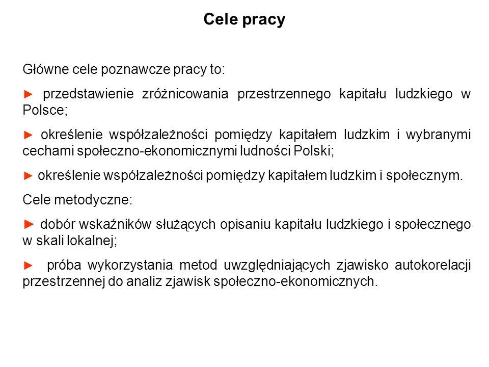 Główne cele poznawcze pracy to: przedstawienie zróżnicowania przestrzennego kapitału ludzkiego w Polsce; określenie współzależności pomiędzy kapitałem