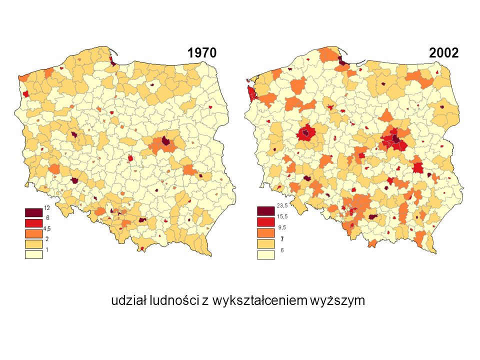 Kapitał społeczny - wymiar uczestnictwa zróżnicowanie przestrzenne typy obszarów według zależności przestrzennej I=0,16 Członkostwo w: klubach sportowych; zespołach artystycznych; kołach zainteresowań.