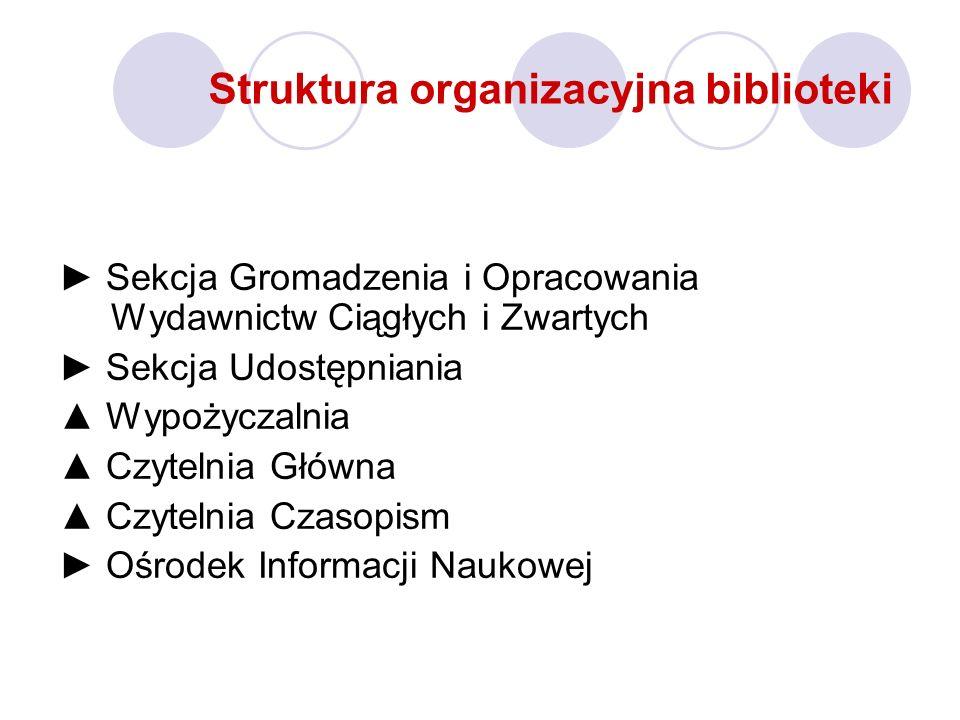 Struktura organizacyjna biblioteki Sekcja Gromadzenia i Opracowania Wydawnictw Ciągłych i Zwartych Sekcja Udostępniania Wypożyczalnia Czytelnia Główna