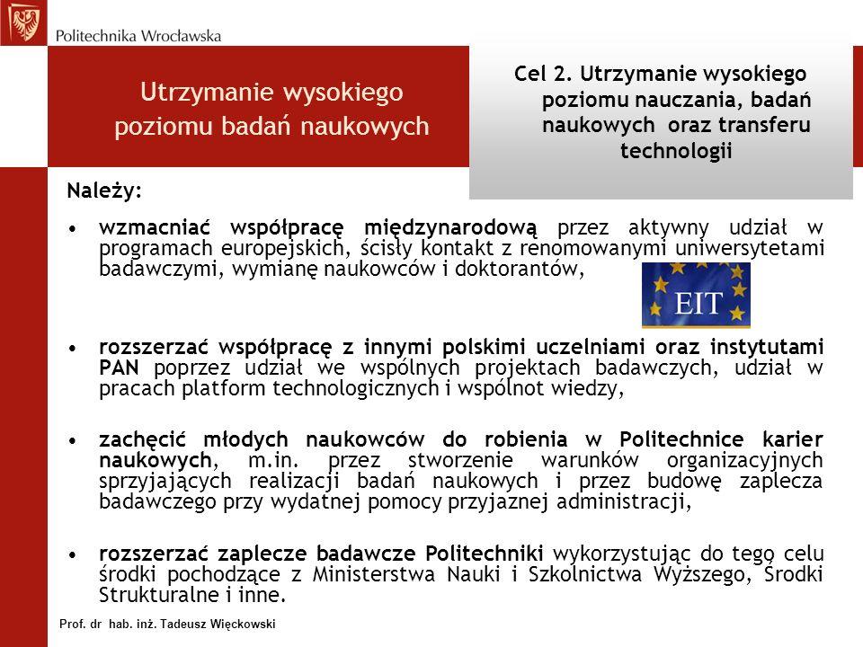 Należy: wzmacniać współpracę międzynarodową przez aktywny udział w programach europejskich, ścisły kontakt z renomowanymi uniwersytetami badawczymi, wymianę naukowców i doktorantów, rozszerzać współpracę z innymi polskimi uczelniami oraz instytutami PAN poprzez udział we wspólnych projektach badawczych, udział w pracach platform technologicznych i wspólnot wiedzy, zachęcić młodych naukowców do robienia w Politechnice karier naukowych, m.in.