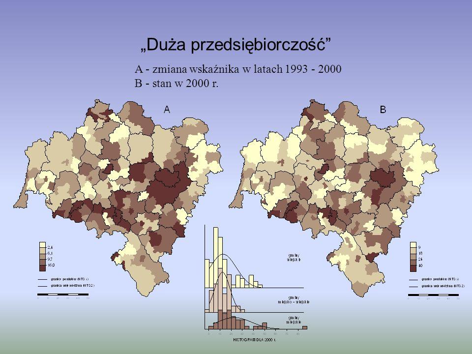 Duża przedsiębiorczość A - zmiana wskaźnika w latach 1993 - 2000 B - stan w 2000 r.