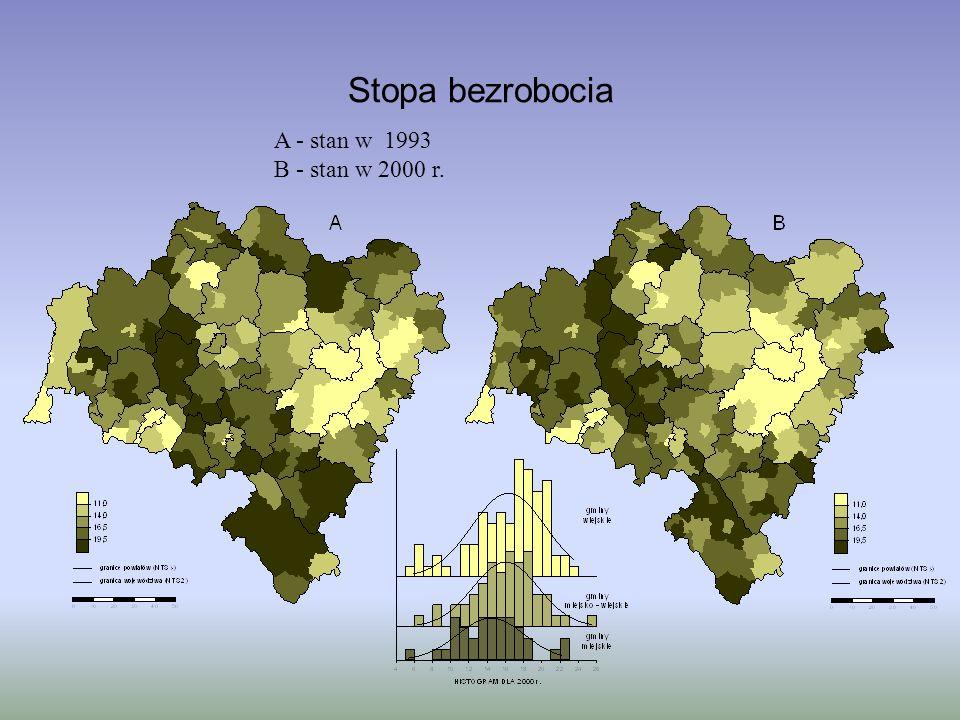 Stopa bezrobocia A - stan w 1993 B - stan w 2000 r.