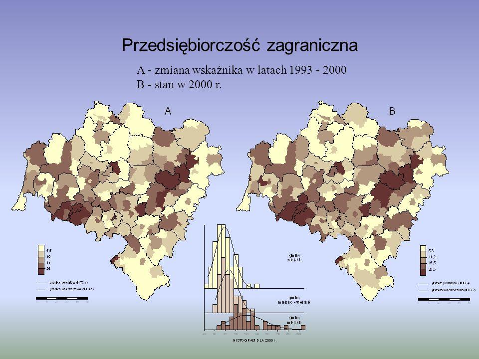 Przedsiębiorczość zagraniczna A - zmiana wskaźnika w latach 1993 - 2000 B - stan w 2000 r.