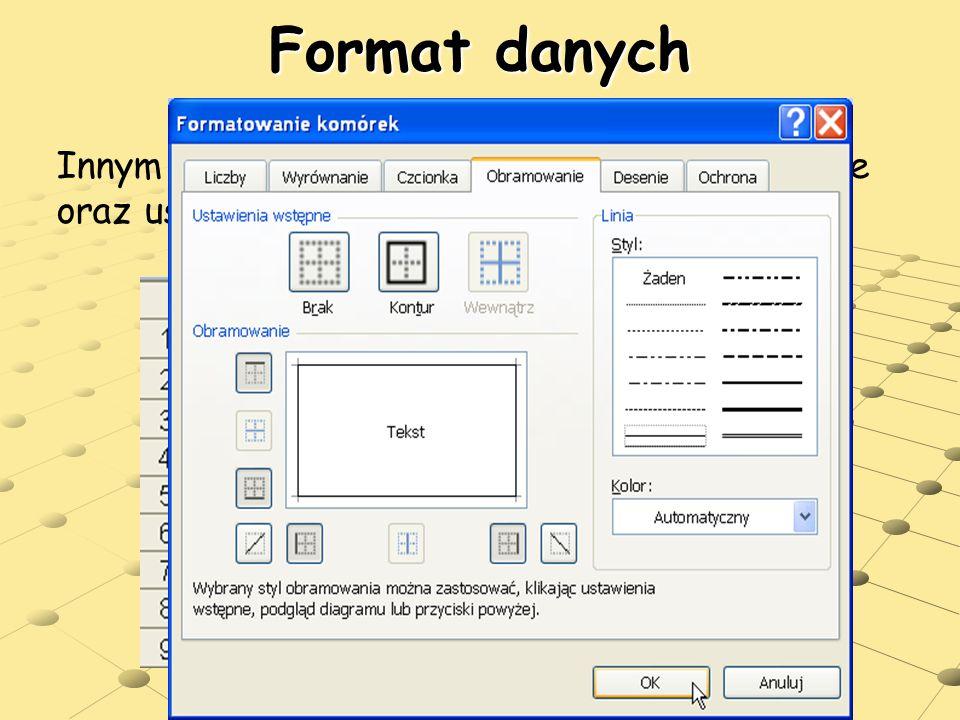 users.uj.edu.pl/~ufpostaw/Podstawy/Wy klad04.pps Format danych Innym rodzajem formatowania jest wypełnienie oraz ustawienie obramowania komórek.