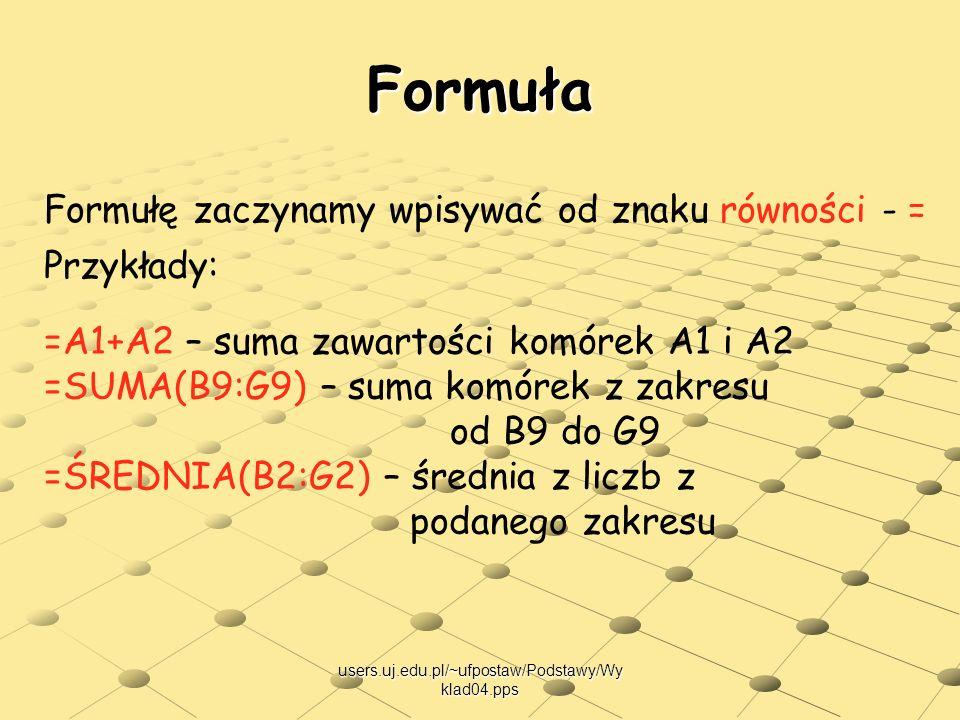 users.uj.edu.pl/~ufpostaw/Podstawy/Wy klad04.pps Formuła Formułę zaczynamy wpisywać od znaku równości - = Przykłady: =A1+A2 – suma zawartości komórek