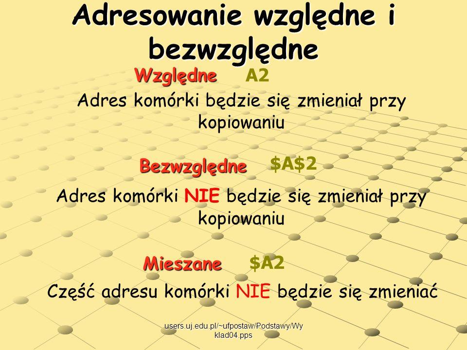 users.uj.edu.pl/~ufpostaw/Podstawy/Wy klad04.pps Adresowanie względne i bezwzględne Względne Bezwzględne A2 $A$2 Adres komórki będzie się zmieniał prz