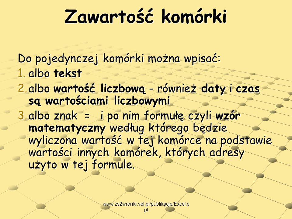 www.zs2wronki.vel.pl/publikacje/Excel.p pt Zawartość komórki Do pojedynczej komórki można wpisać: 1.albo tekst 2.albo wartość liczbową - również daty