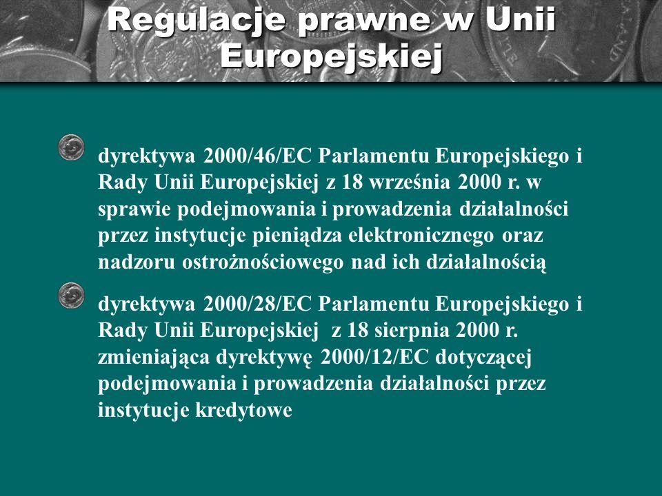 Regulacje prawne w Unii Europejskiej dyrektywa 2000/46/EC Parlamentu Europejskiego i Rady Unii Europejskiej z 18 września 2000 r. w sprawie podejmowan