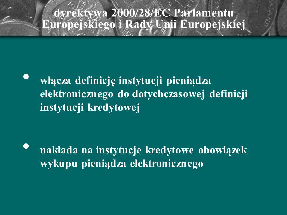 dyrektywa 2000/28/EC Parlamentu Europejskiego i Rady Unii Europejskiej włącza definicję instytucji pieniądza elektronicznego do dotychczasowej definic