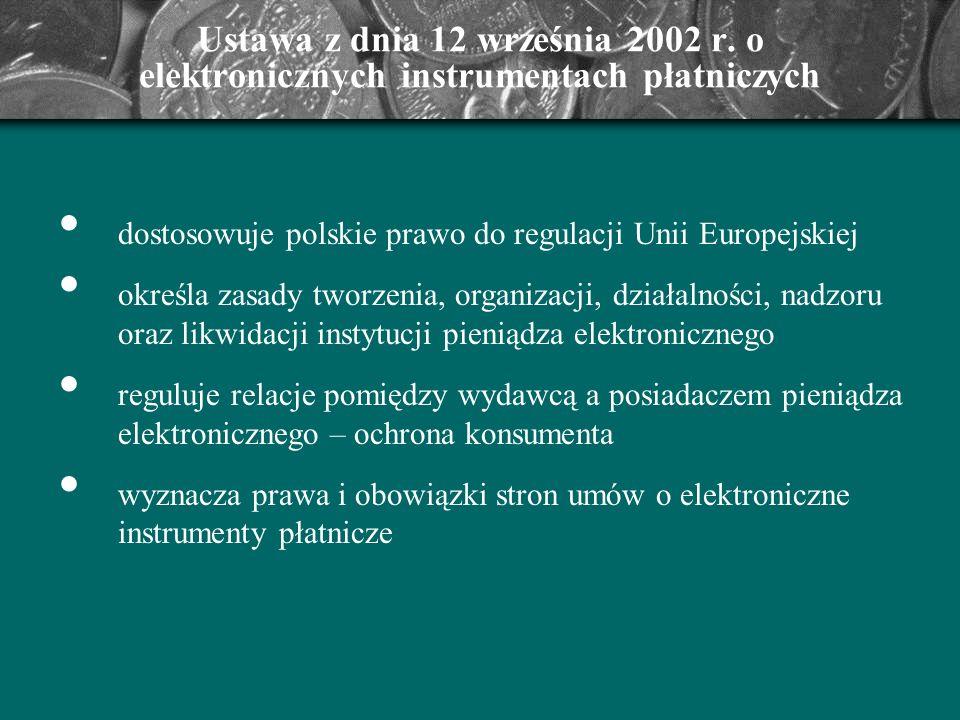 Ustawa z dnia 12 września 2002 r. o elektronicznych instrumentach płatniczych dostosowuje polskie prawo do regulacji Unii Europejskiej określa zasady