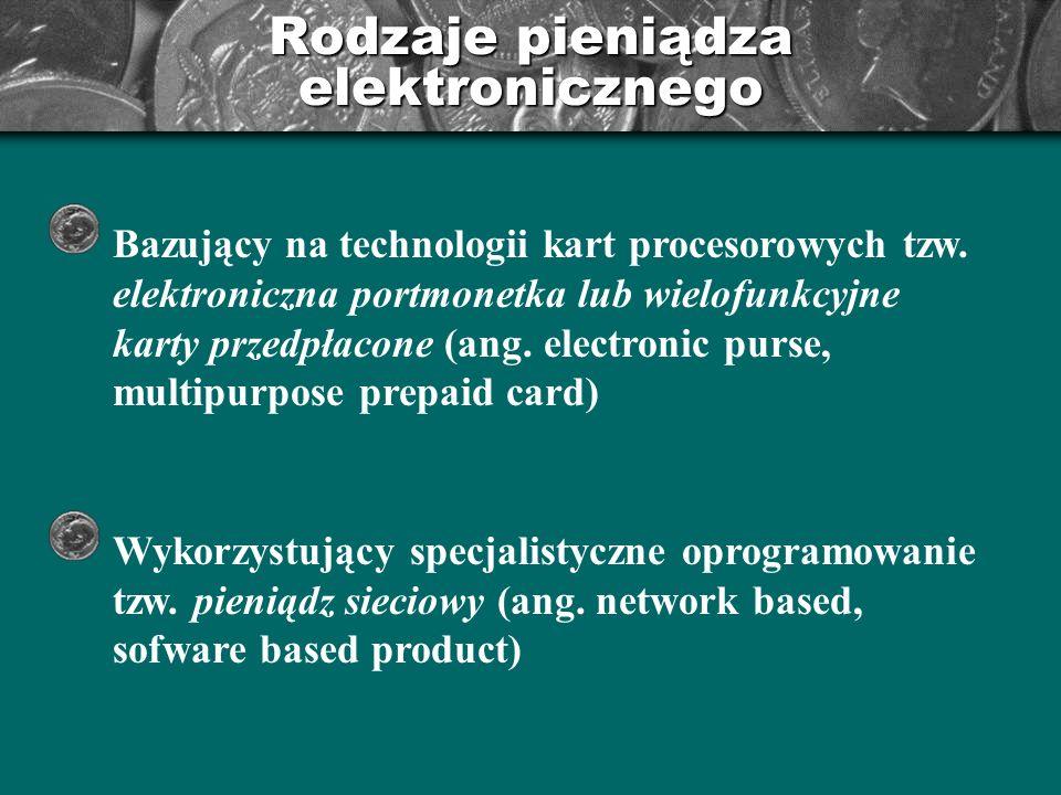 Pieniądz elektroniczny bazujący na technologii kart procesorowych elektroniczna portmonetka występuje w formie oddzielnej karty lub jest umieszczona na karcie wraz z innymi aplikacjami klient płaci za kartę przed jej otrzymaniem w momencie płacenia wartość pieniężna jest redukowana sprawdzenie zawartości następuje za pomocą czytnika istnieje możliwość doładowania karty