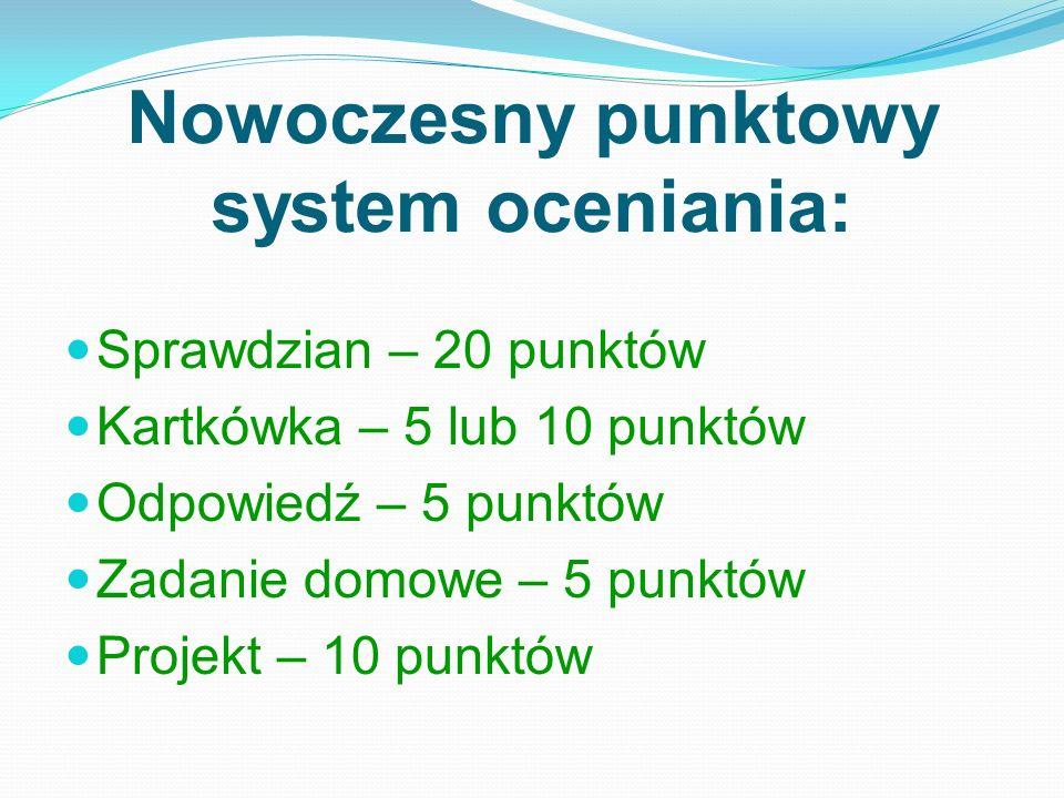 Nowoczesny punktowy system oceniania: Sprawdzian – 20 punktów Kartkówka – 5 lub 10 punktów Odpowiedź – 5 punktów Zadanie domowe – 5 punktów Projekt – 10 punktów