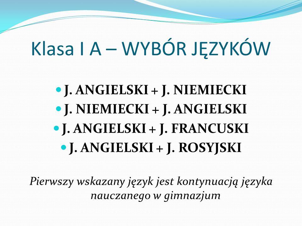 Klasa I A – WYBÓR JĘZYKÓW J. ANGIELSKI + J. NIEMIECKI J.
