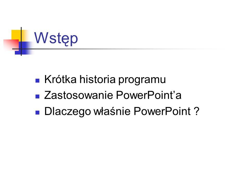 Wstęp Krótka historia programu Zastosowanie PowerPointa Dlaczego właśnie PowerPoint ?