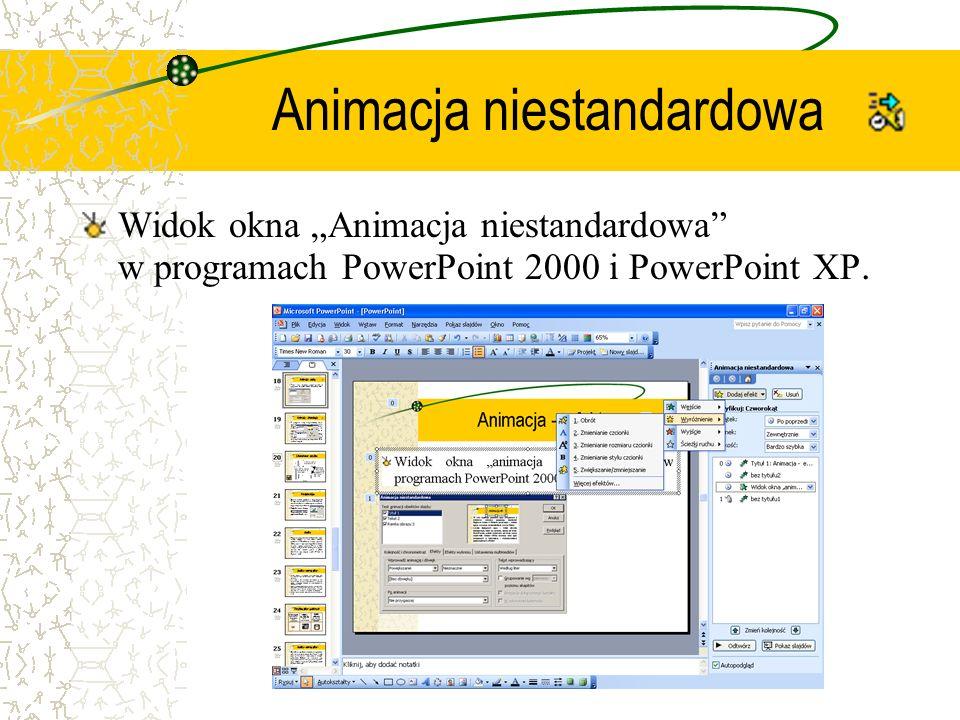 Animacja niestandardowa Widok okna Animacja niestandardowa w programach PowerPoint 2000 i PowerPoint XP.