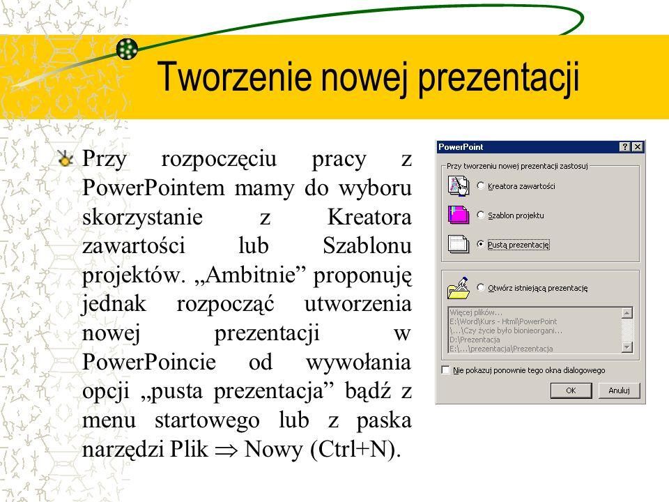 Slajd tytułowy Przy tworzeniu pierwszego slajdu skorzystajmy z autoukładu i wybierzmy Slajd tytułowy (menu Wstaw Nowy slajd lub Ctrl+M).
