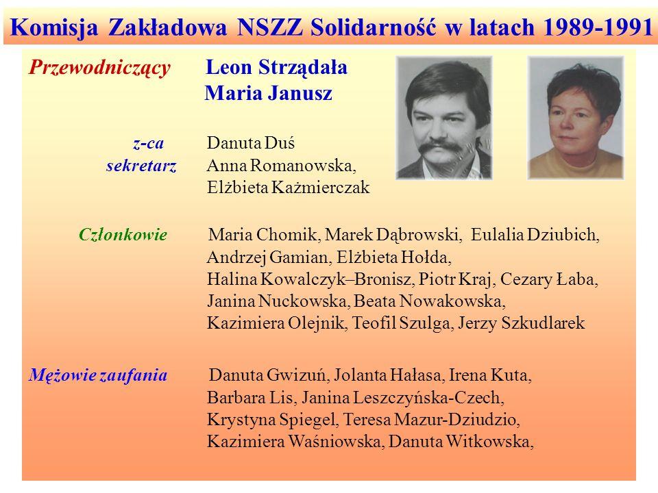 Komisja Zakładowa NSZZ Solidarność w latach 1989-1991 Przewodniczący Leon Strządała Maria Janusz z-ca Danuta Duś sekretarz Anna Romanowska, Elżbieta K