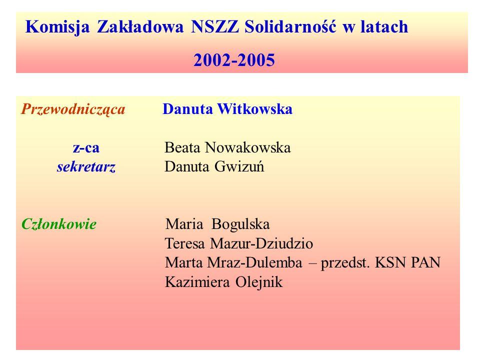 Komisja Zakładowa NSZZ Solidarność w latach 2002-2005 Przewodnicząca Danuta Witkowska z-ca Beata Nowakowska sekretarz Danuta Gwizuń Członkowie Maria B