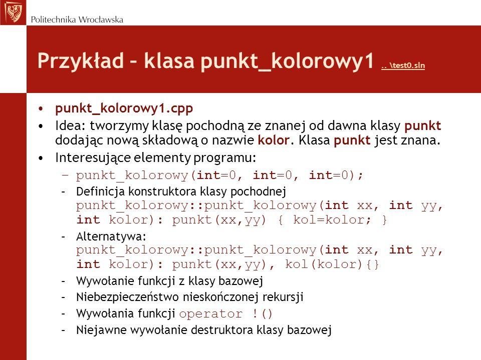 Przykład – klasa punkt_kolorowy1.. \test0.sln..