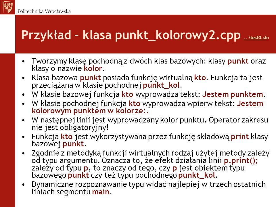 Przykład – klasa punkt_kolorowy2.cpp.. \test0.sln..