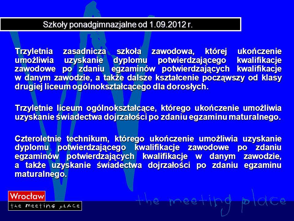 Szkoły ponadgimnazjalne od 1.09.2012 r.– cd.