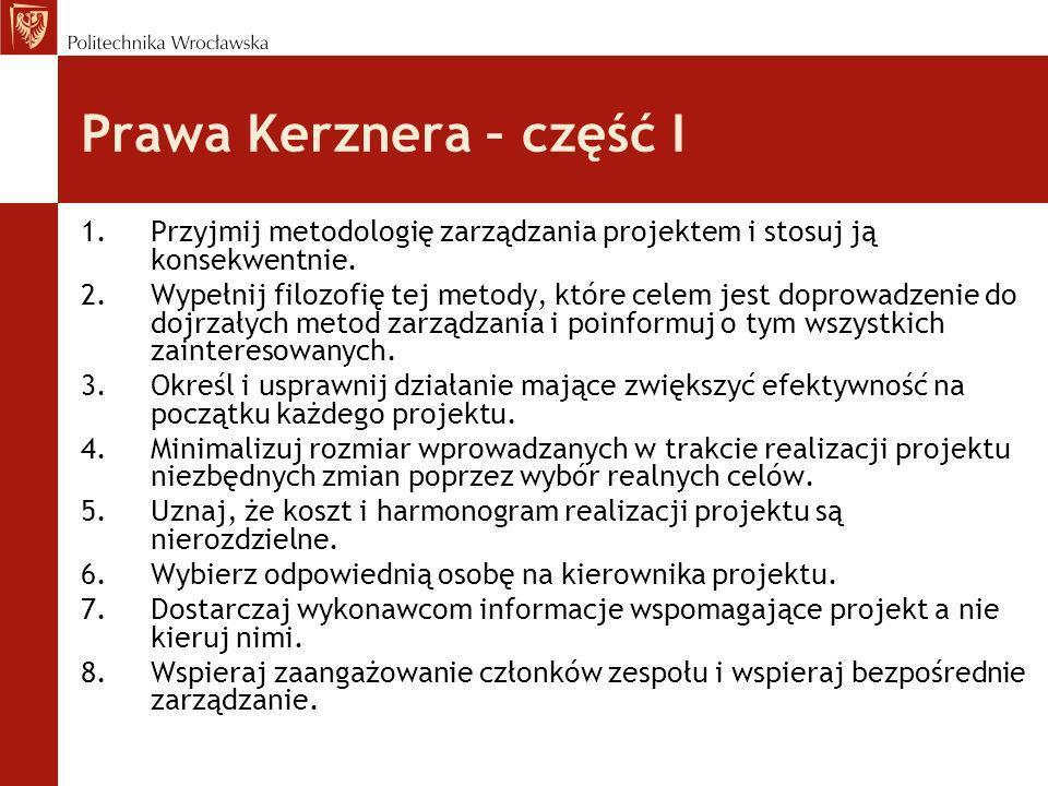 Prawa Kerznera – część I 1.Przyjmij metodologię zarządzania projektem i stosuj ją konsekwentnie. 2.Wypełnij filozofię tej metody, które celem jest dop