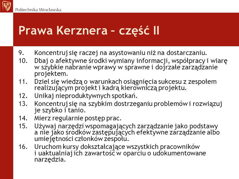 Prawa Kerznera – część II 9.Koncentruj się raczej na asystowaniu niż na dostarczaniu. 10.Dbaj o afektywne środki wymiany informacji, współpracy i wiar