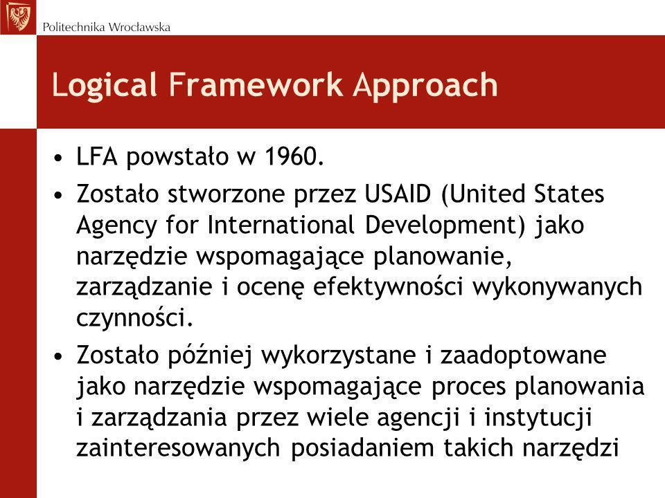 Logical Framework Approach LFA powstało w 1960. Zostało stworzone przez USAID (United States Agency for International Development) jako narzędzie wspo