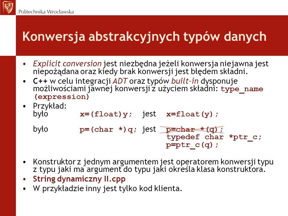 Konwersja abstrakcyjnych typów danych Explicit conversion jest niezbędna jeżeli konwersja niejawna jest niepożądana oraz kiedy brak konwersji jest błę