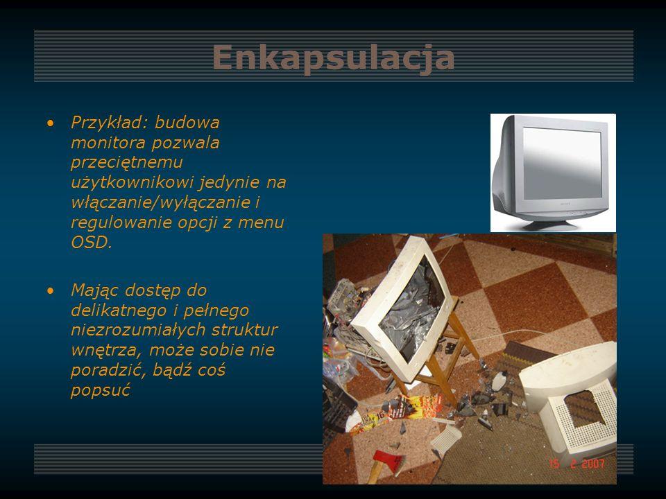 Enkapsulacja Przykład: budowa monitora pozwala przeciętnemu użytkownikowi jedynie na włączanie/wyłączanie i regulowanie opcji z menu OSD. Mając dostęp