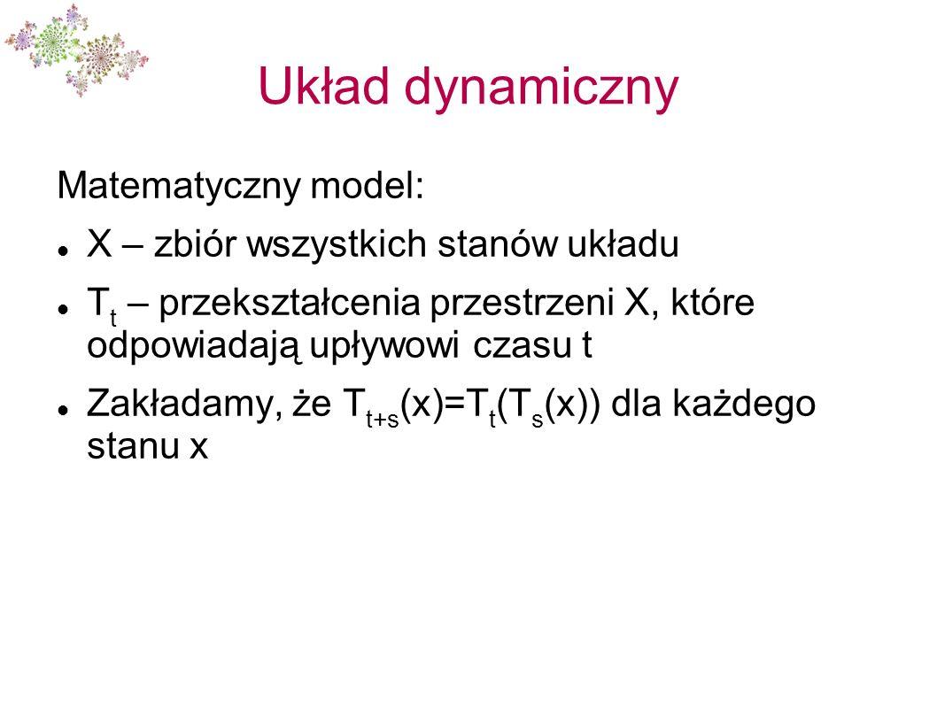 Układ dynamiczny Matematyczny model: X – zbiór wszystkich stanów układu T t – przekształcenia przestrzeni X, które odpowiadają upływowi czasu t Zakład