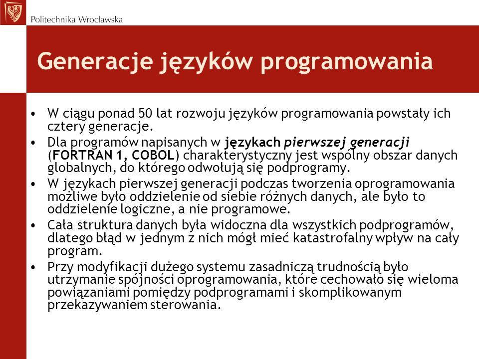 Generacje języków programowania W ciągu ponad 50 lat rozwoju języków programowania powstały ich cztery generacje.