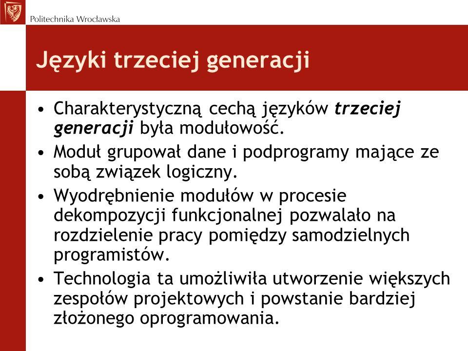 Języki trzeciej generacji Charakterystyczną cechą języków trzeciej generacji była modułowość. Moduł grupował dane i podprogramy mające ze sobą związek