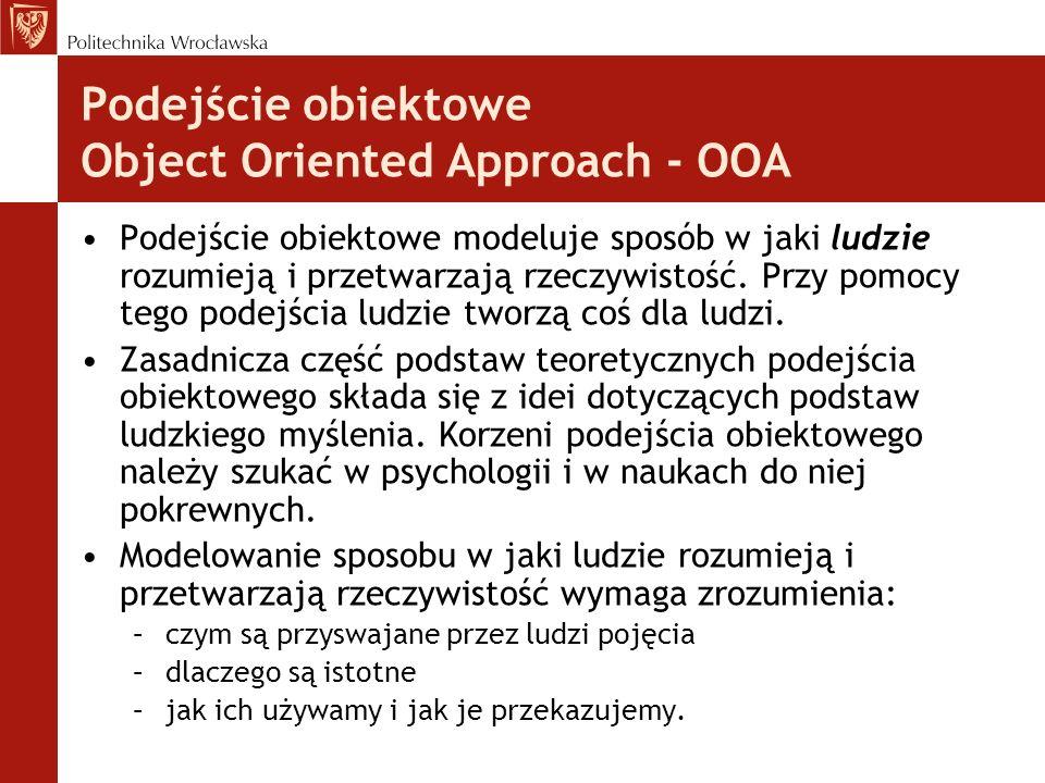 Podejście obiektowe Object Oriented Approach - OOA Podejście obiektowe modeluje sposób w jaki ludzie rozumieją i przetwarzają rzeczywistość. Przy pomo