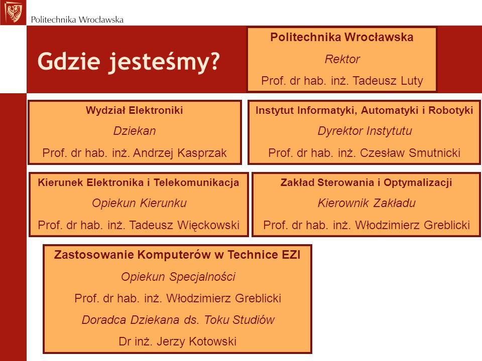 Gdzie jesteśmy? Politechnika Wrocławska Rektor Prof. dr hab. inż. Tadeusz Luty Wydział Elektroniki Dziekan Prof. dr hab. inż. Andrzej Kasprzak Kierune