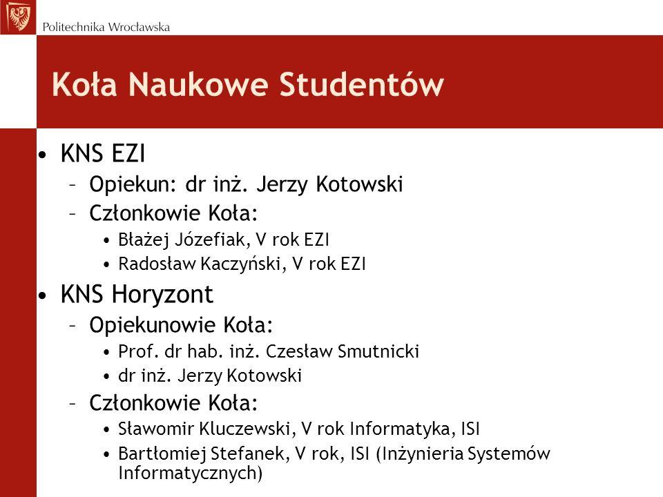 Koła Naukowe Studentów KNS EZI –Opiekun: dr inż. Jerzy Kotowski –Członkowie Koła: Błażej Józefiak, V rok EZI Radosław Kaczyński, V rok EZI KNS Horyzon