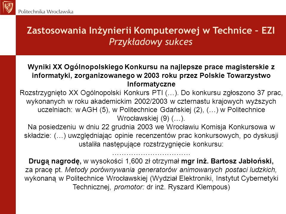Wyniki XX Ogólnopolskiego Konkursu na najlepsze prace magisterskie z informatyki, zorganizowanego w 2003 roku przez Polskie Towarzystwo Informatyczne